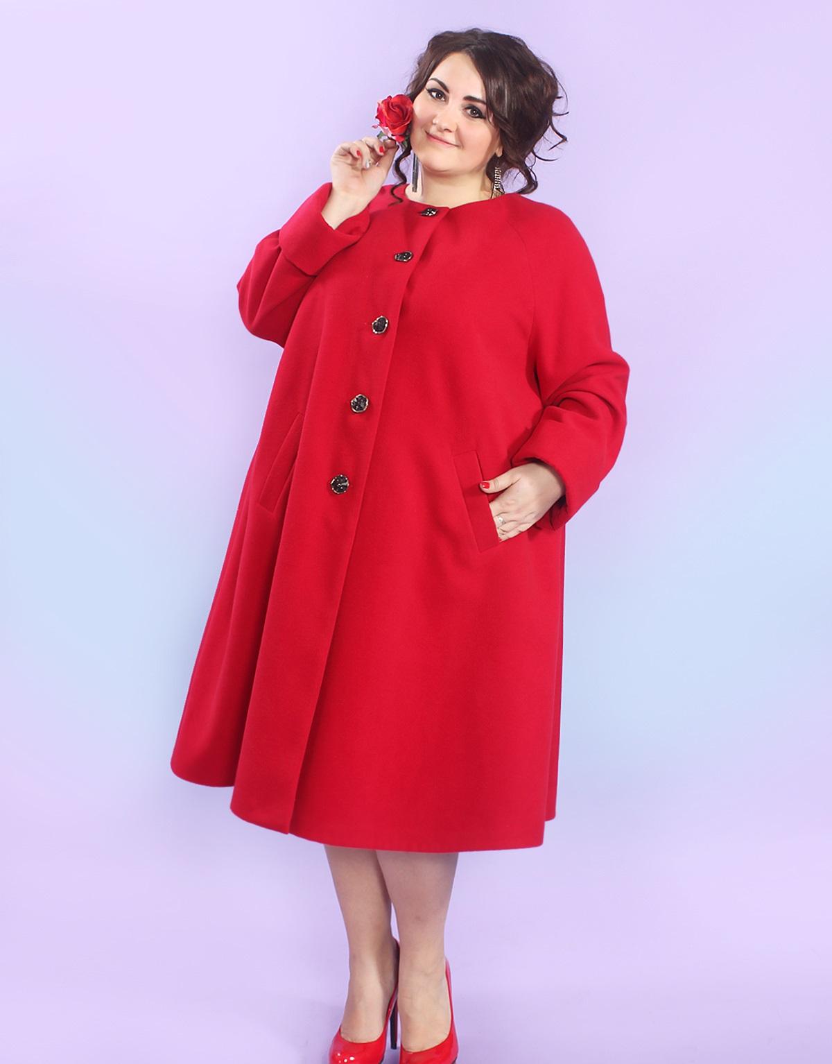пальто для полных весна 2019: красное