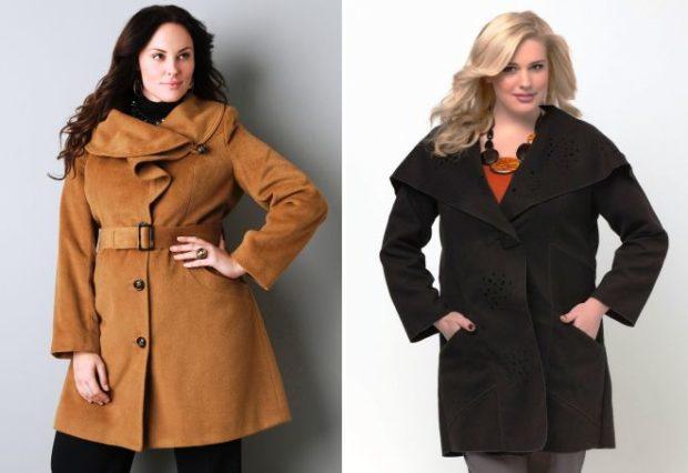 пальто для полных весна 2019: коричневое с поясом черное с раскладным воротником