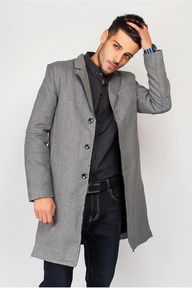 пальто мужское весна 2019: серое классика