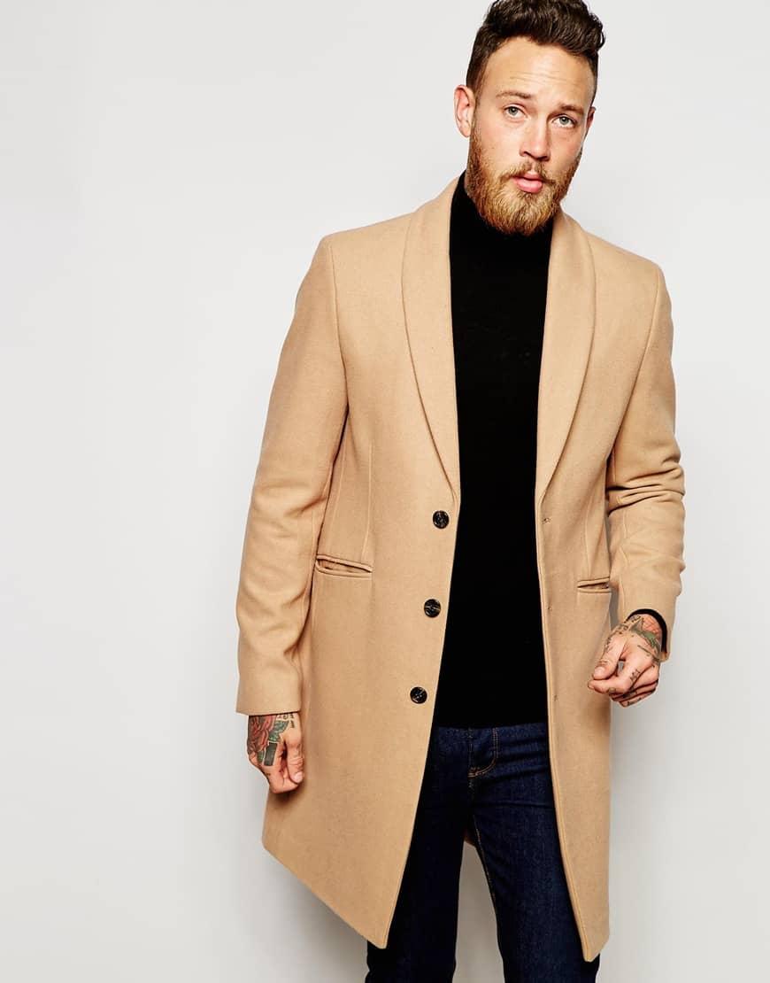 пальто мужское весна 2019: бежевое
