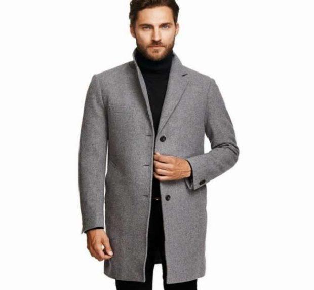 пальто мужское весна 2019: серое