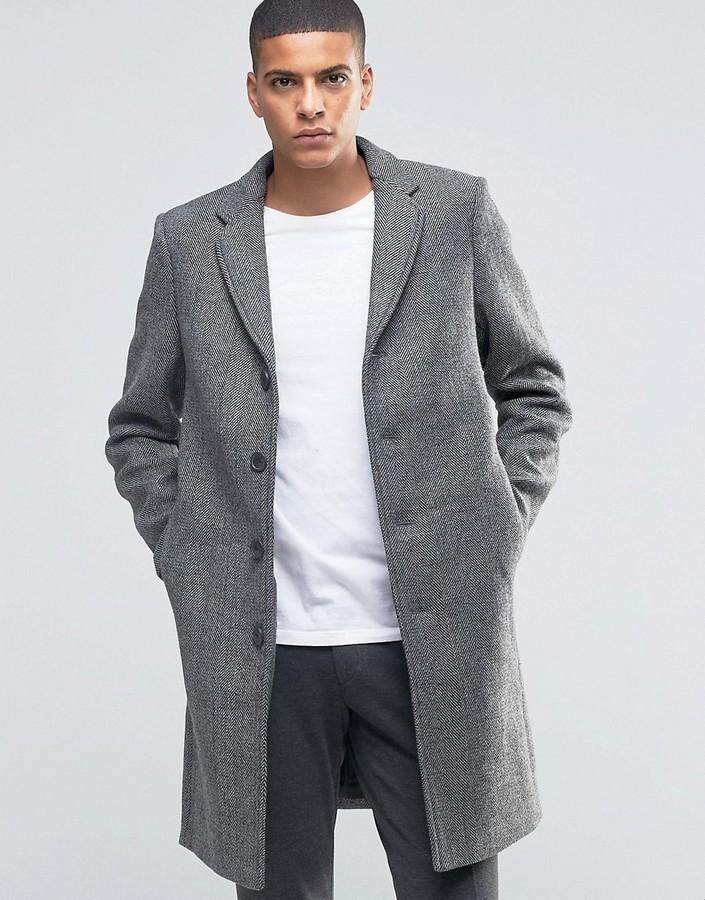 пальто мужское весна 2019: серое гусиная лапка