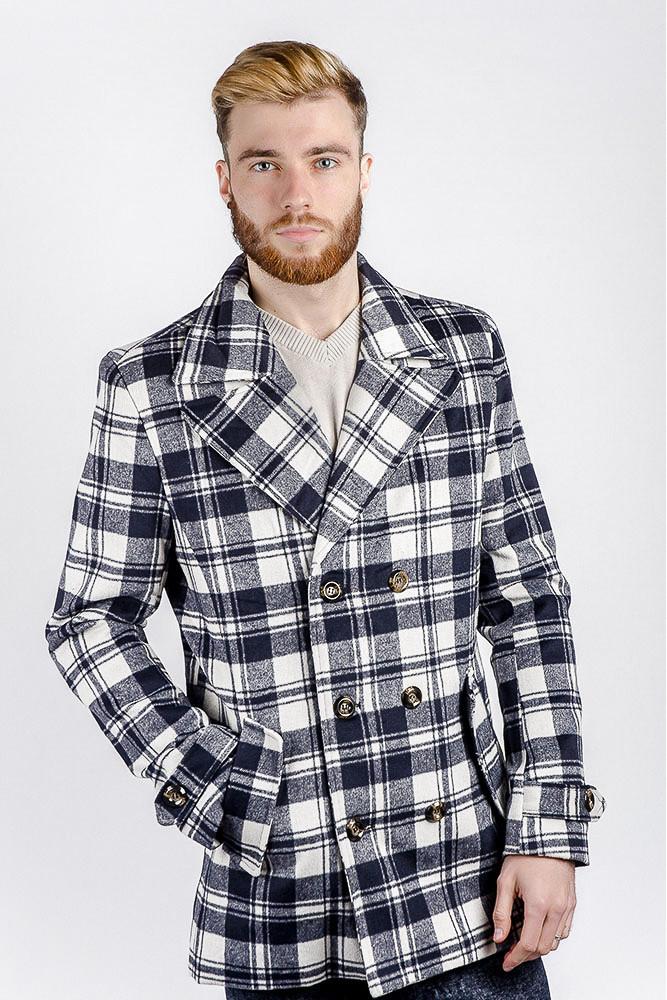 пальто мужское весна 2019: белое с синим в клетку