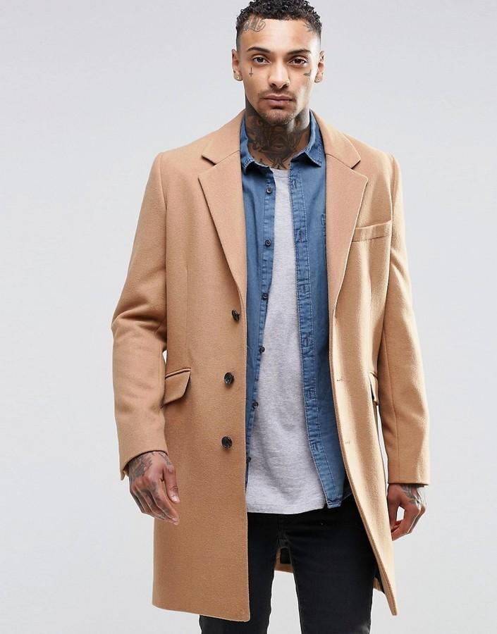 пальто мужское весна 2019: песочного цвета классика