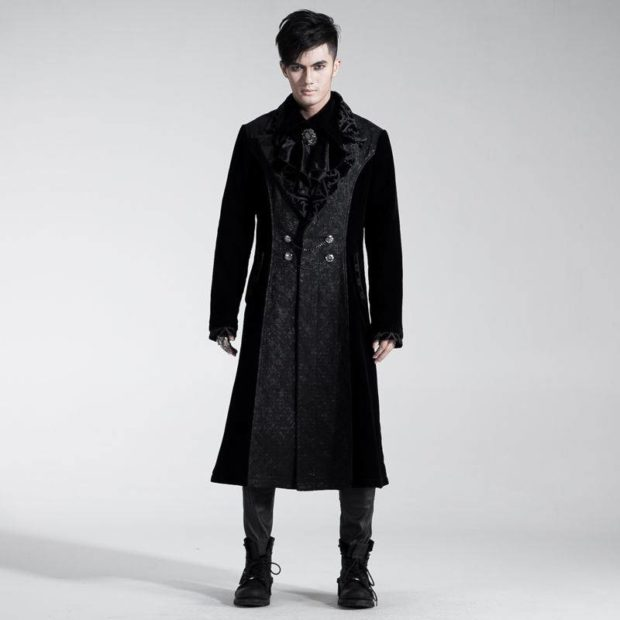 пальто мужское весна 2019: миди черное с мехом