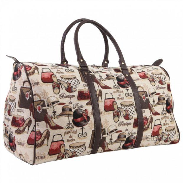 модные сумки весна лето 2019: дорожная бежевая с рисунком