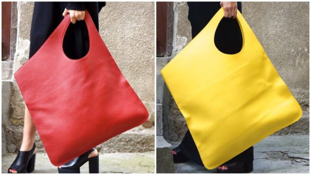 женские сумки 2018 года модные тенденции фото: мешок красная желтая