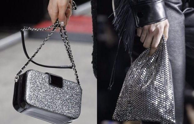 женские сумки 2018 года модные тенденции фото: блестящие серебристые маленькие мешки