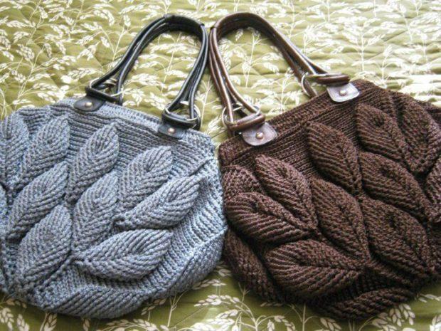 модные сумки лето 2019: вязаная серая коричневая с узором