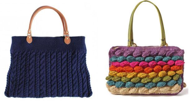 модные сумки лето 2019: синяя вязаная цветная яркая