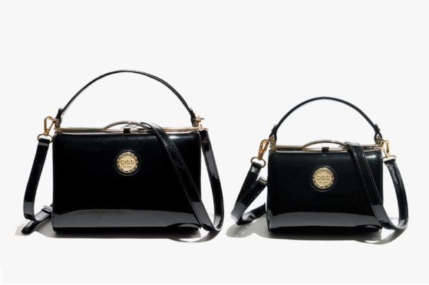 модные сумки весна лето 2019: черные лаковые твердый каркас