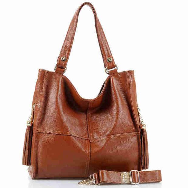 сумки лето 2019: мягкая коричневая кожаная