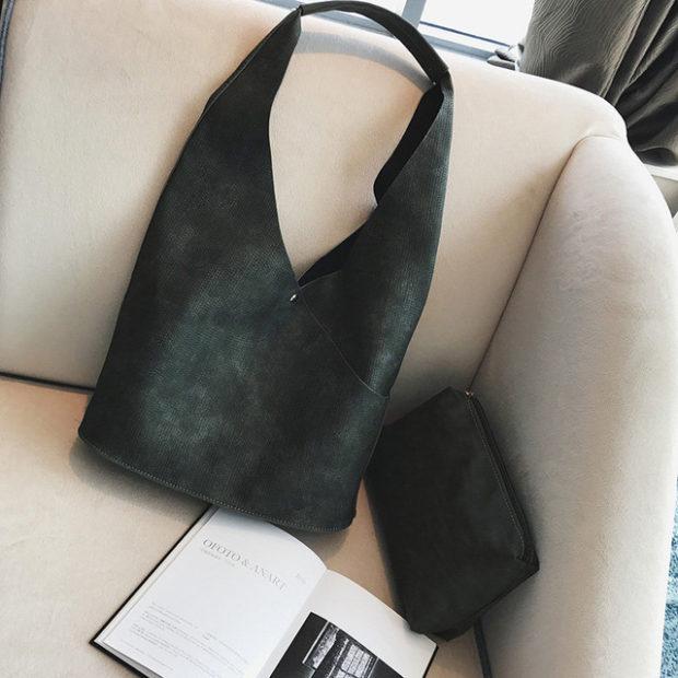 сумки лето 2019: мягкая черная нубук
