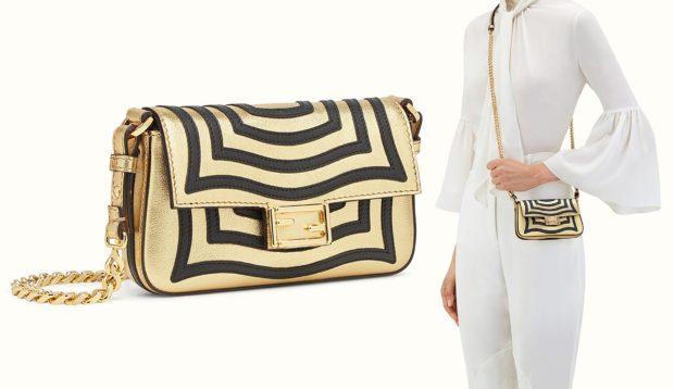 модные сумки весна лето 2019: маленькая золотая с черным на цепочке