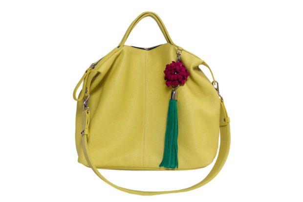 модные сумки весна лето 2019: мешок желто-зеленая
