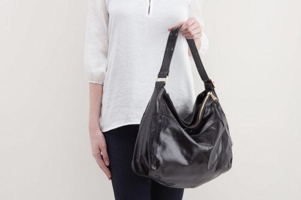 модные сумки весна лето 2019: хобо черная кожаная