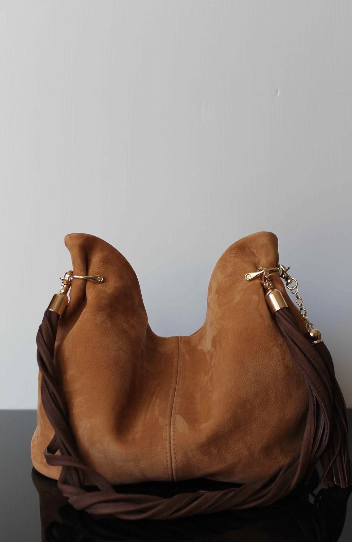 модные сумки весна лето 2019: хобо коричневая