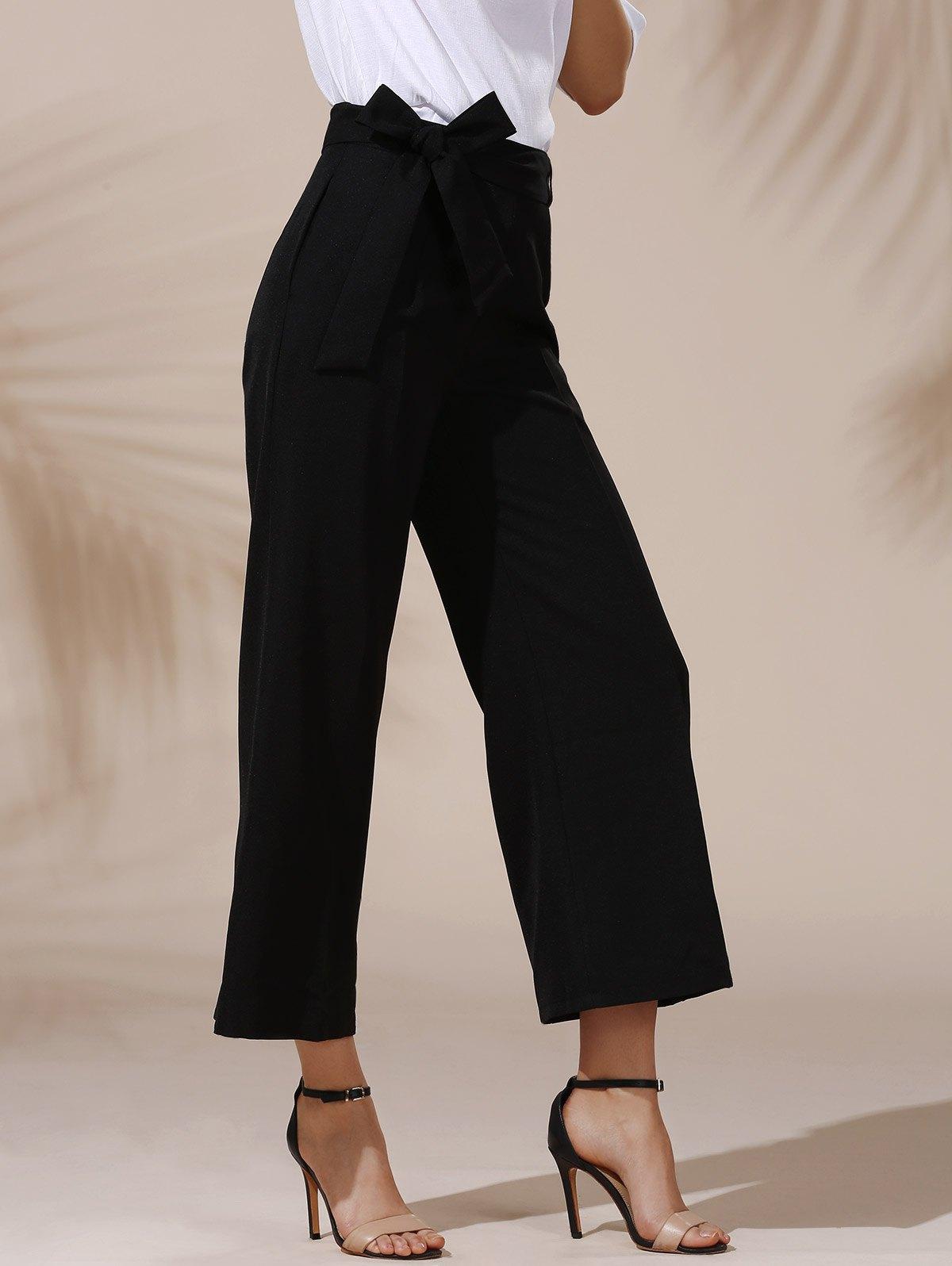 модные брюки весна лето 2019: кюлоты черные с бантом на поясе