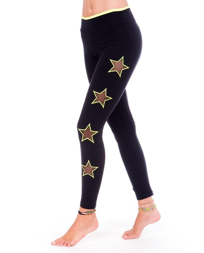 женские брюки весна лето 2019: тайтсы черные со звездами по бокам