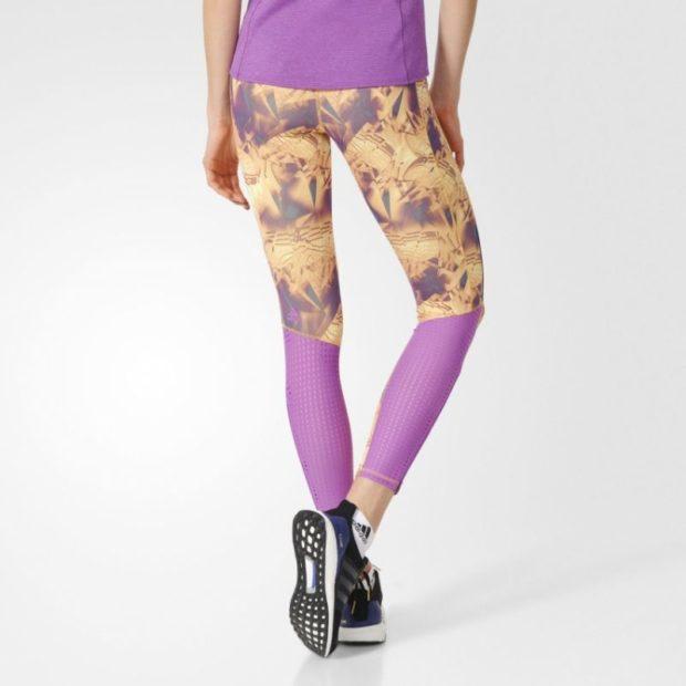 женские брюки весна лето 2019: тайтсы розовые со вставкой желтой с разводами