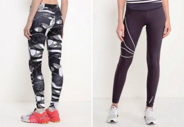 женские брюки весна лето 2019: тайтсы принтованные черные с полосками