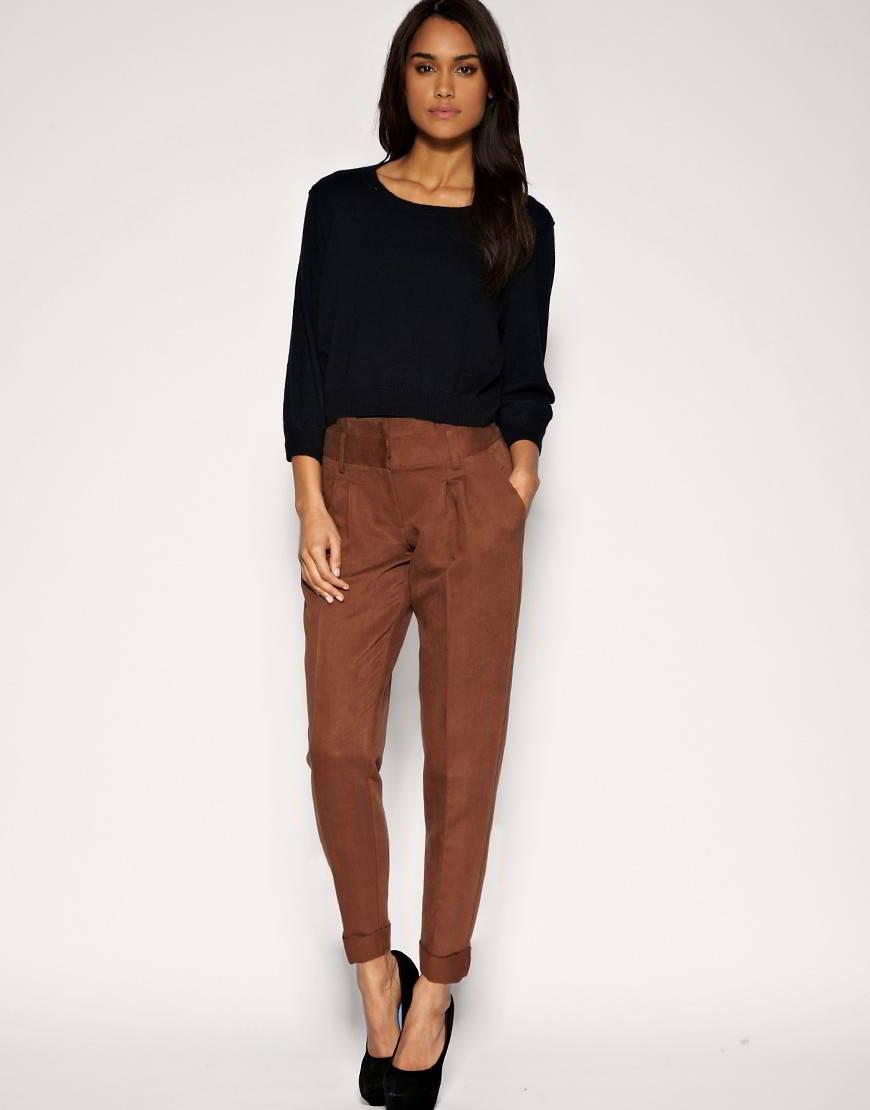 женские брюки весна лето 2019: классические коричневые укороченные