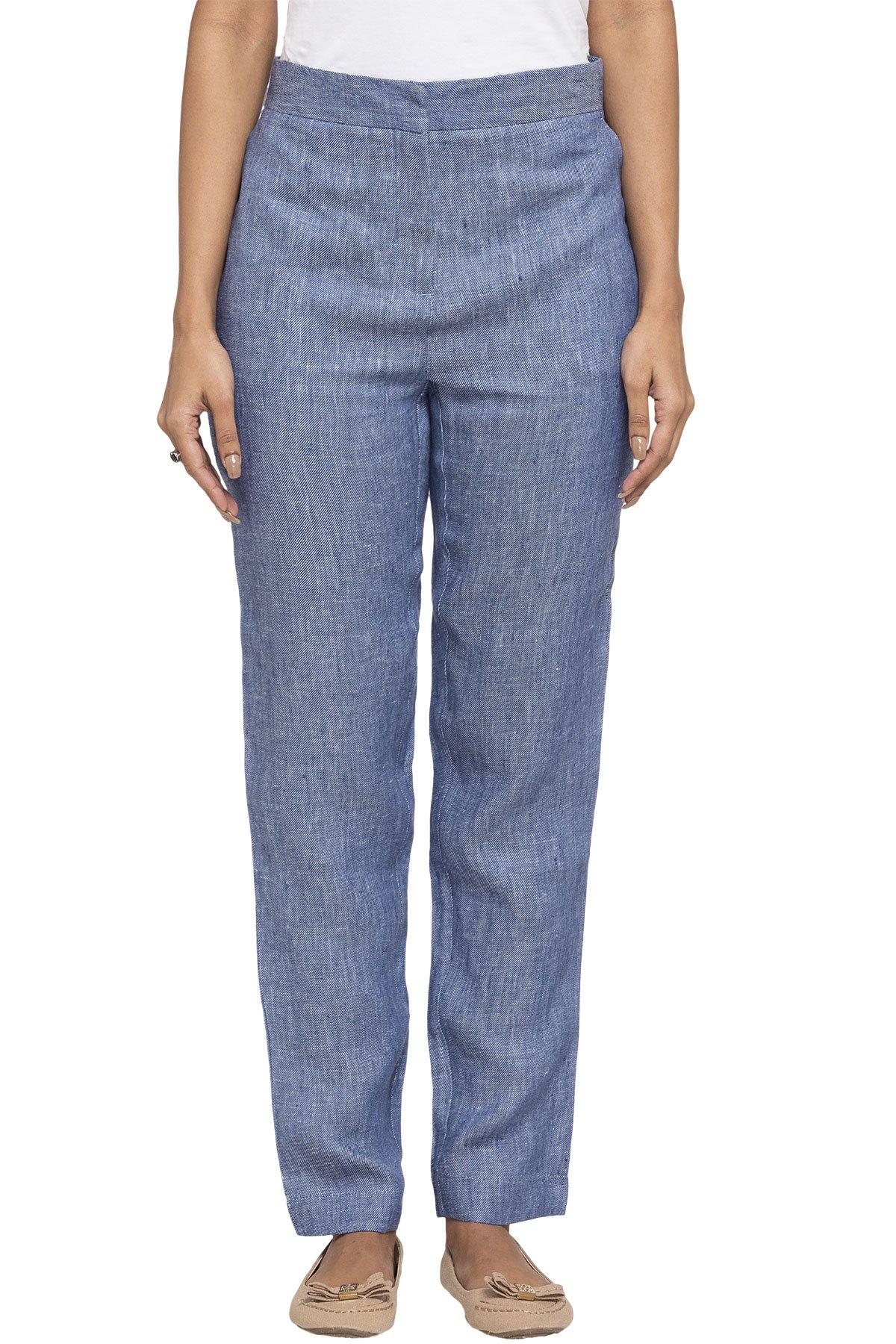 модные брюки весна лето 2019: синие высокая талия