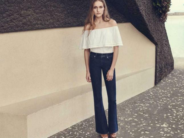 женские брюки весна лето 2019: клеш от колена синие