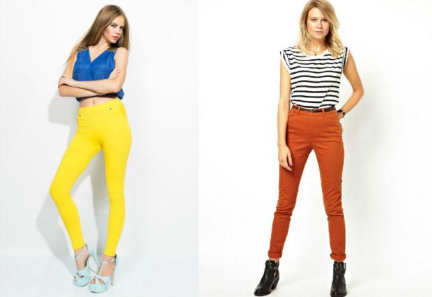 модные женские брюки весны лета 2019: с высокой талией желтые оранжевые
