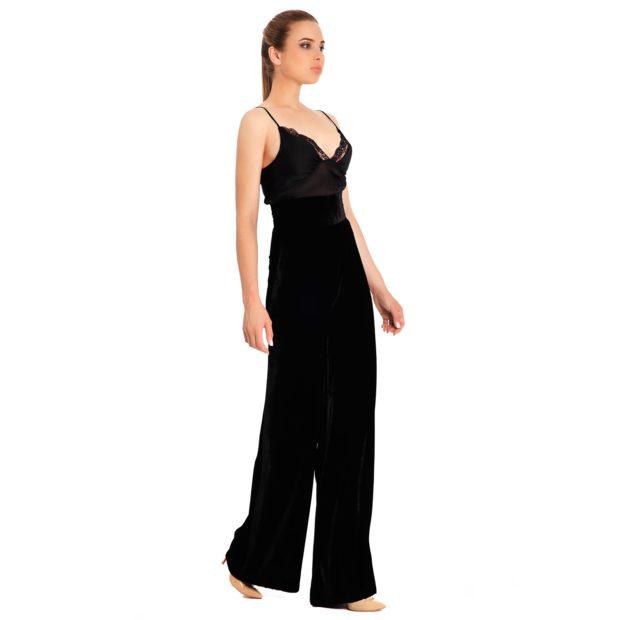 модные женские брюки весны лета 2019: с высокой талией черные клеш от бедра