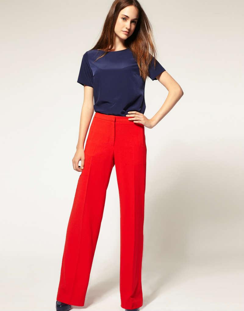 модные женские брюки весны лета 2019: с высокой талией красные прямые