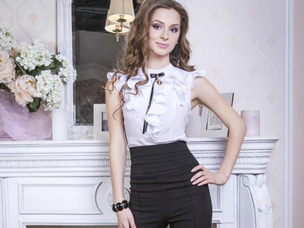 модные женские брюки весны лета 2019: с высокой талией черные
