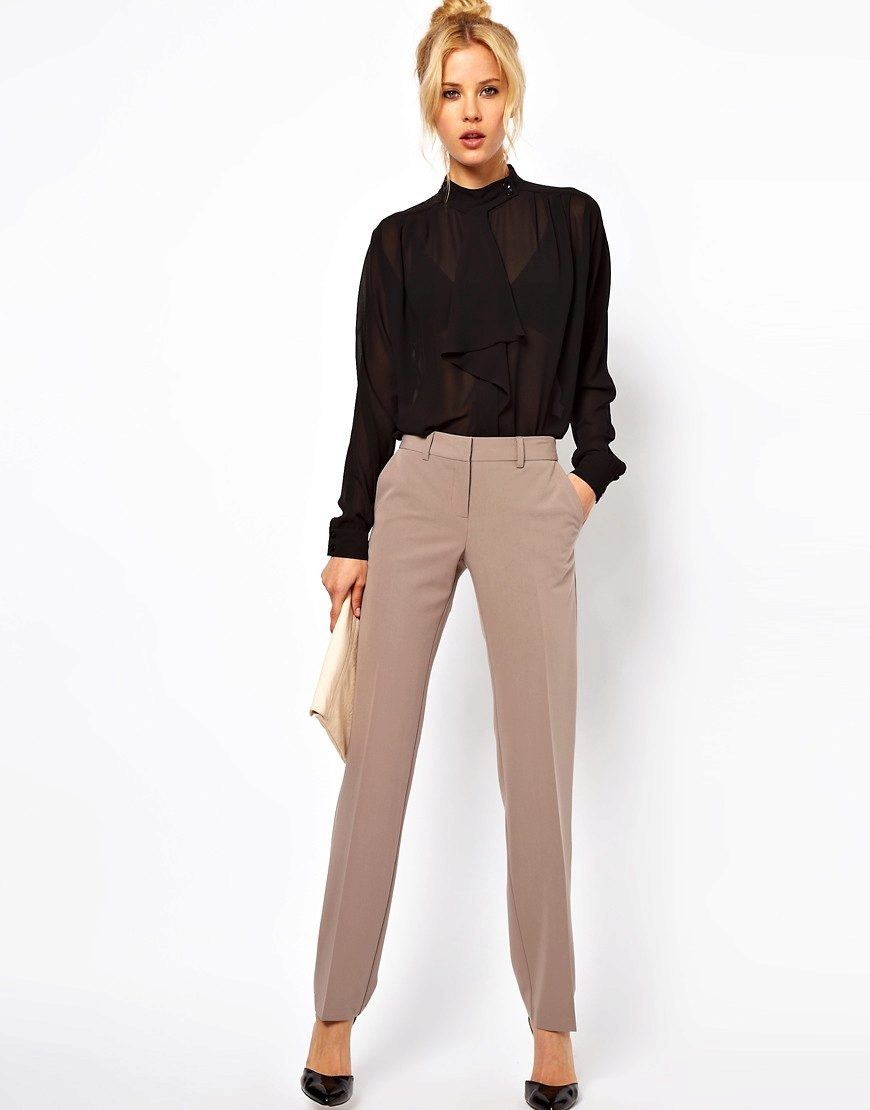 модные женские брюки весны лета 2019: прямые бежевые