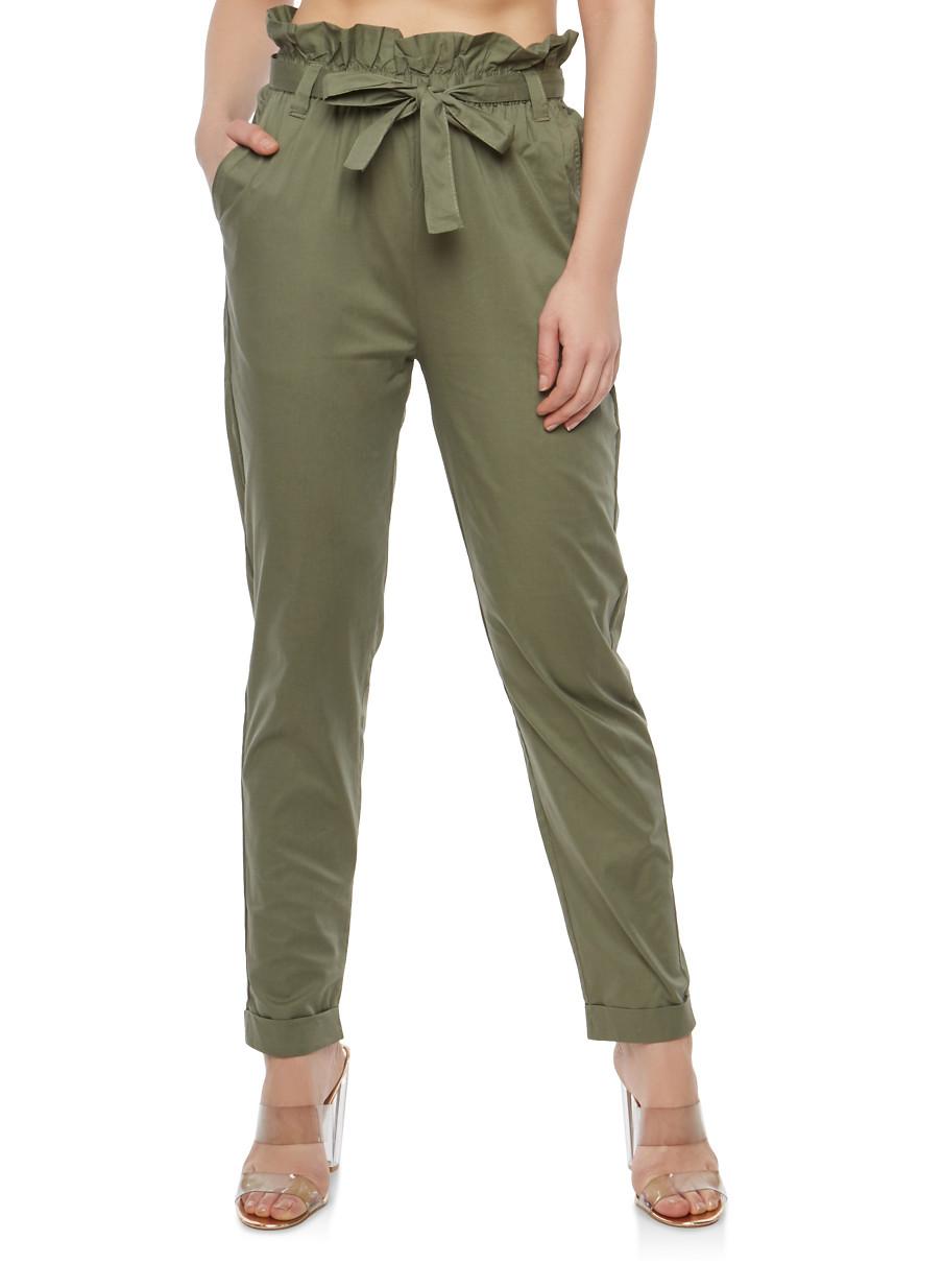 модные брюки весна лето 2019: зеленые укороченные с бантом на поясе