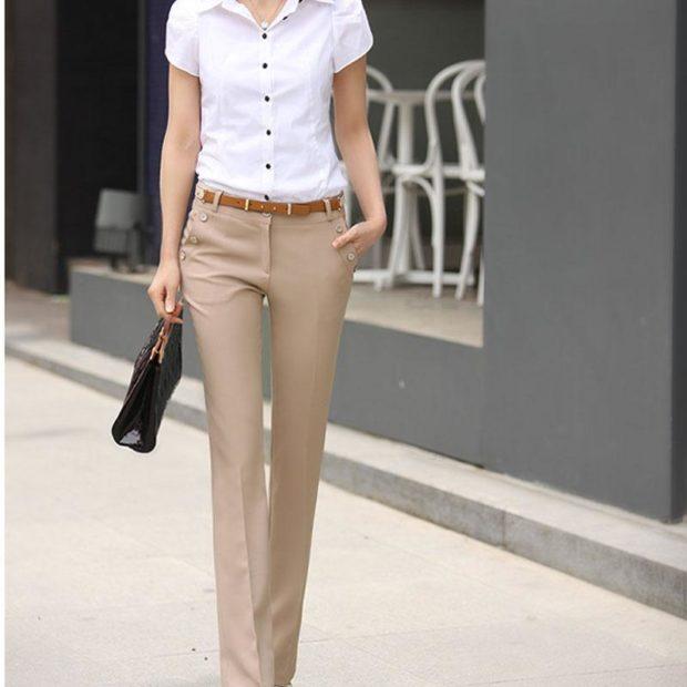 модные брюки весна лето 2019: бежевые прямые