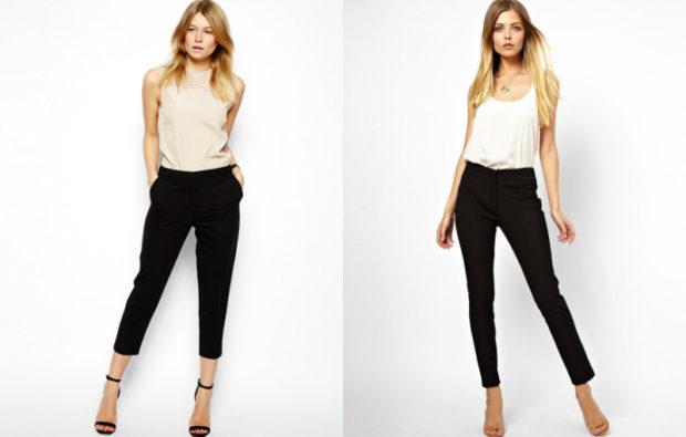 модные женские брюки весны лета 2019: зауженные черные укороченные