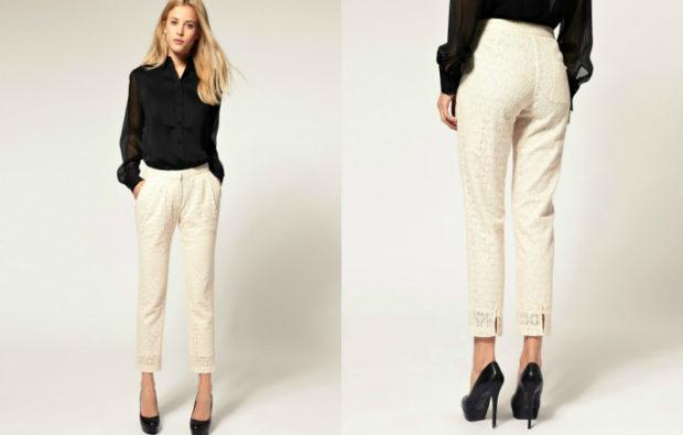 модные женские брюки весны лета 2019: зауженные бежевые укороченные