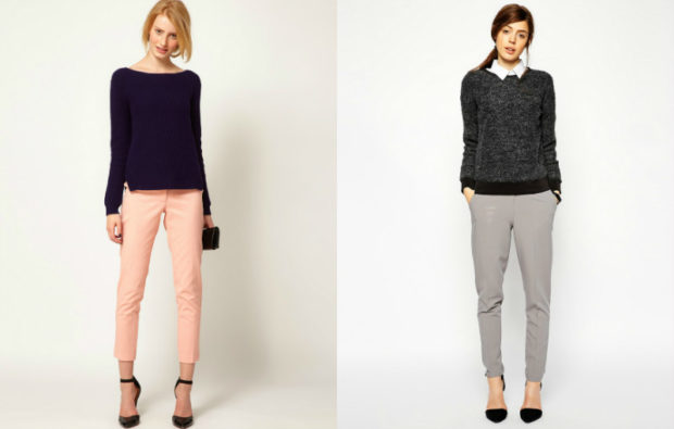 модные женские брюки весны лета 2019: зауженные персиковые серые укороченные