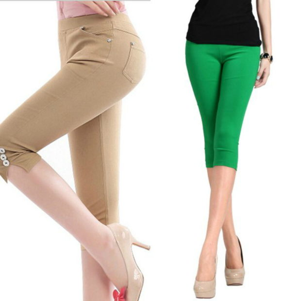 брюки весна лето 2019 года модные: бриджи бежевые зеленые
