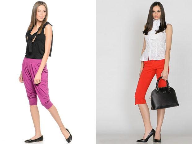 брюки весна лето 2019 года модные: бриджи фиолетовые красные