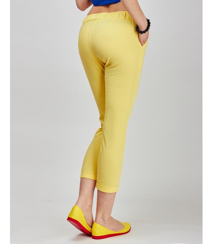 брюки весна лето 2019 года модные: капри желтые