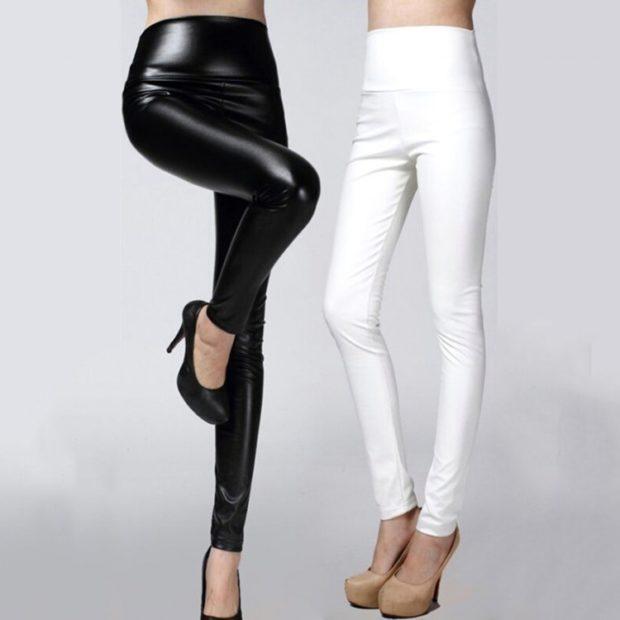 модные брюки весна лето 2019: леггинсы кожаные черные белые