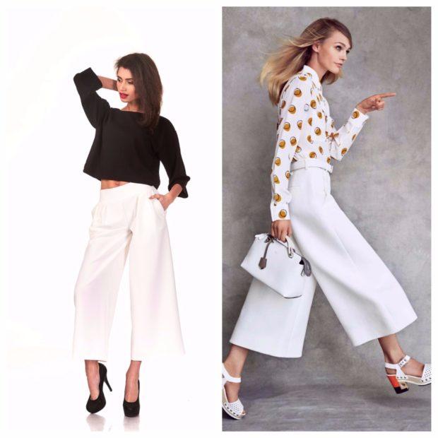 брюки весна лето 2019 года модные: кюлоты белые