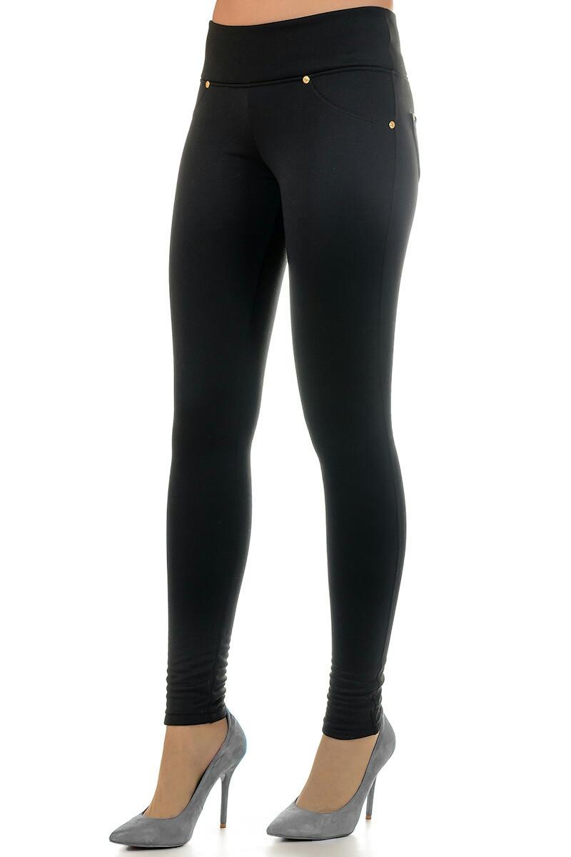 брюки весна лето 2019 года модные: леггинсы черные из денима