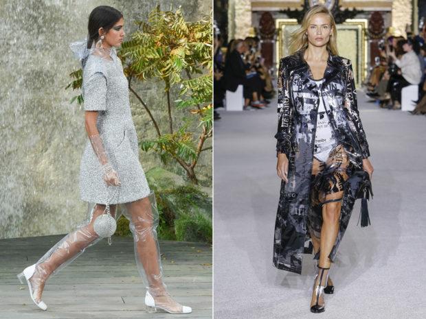 модные тенденции весна лето 2019: серебристое платье прозрачные сапоги плащ синий