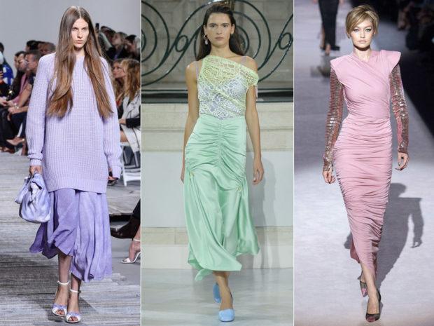 модные тенденции весна лето 2019: нежно-сиреневая юбка и кофта салатовое платье нежно-лиловое платье с рукавом