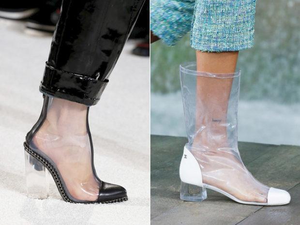 модные тенденции весна лето 2019: прозрачная обувь