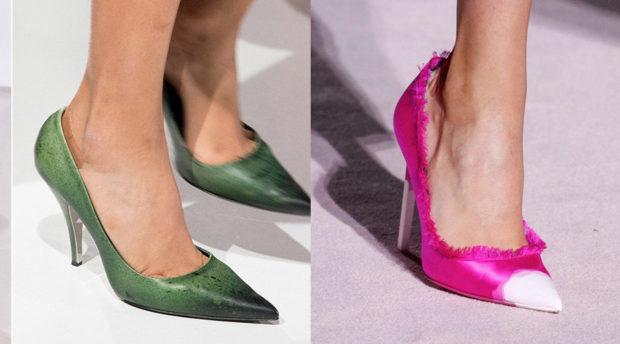 модные тенденции весна лето 2019: туфли зеленые с острым носком розовые с белым носком