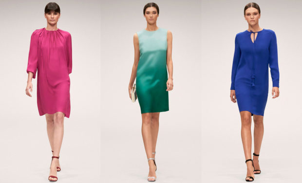 модные тенденции весна лето 2019: платье малиновое зеленое синее