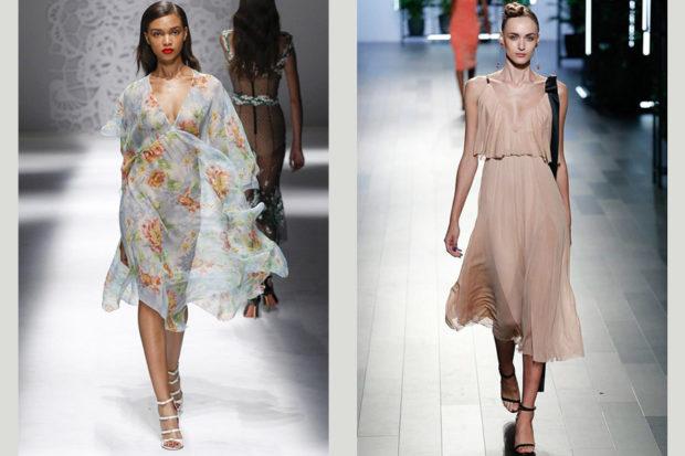 модные тенденции весна лето 2019: прозрачное платье в цветы бежевое без рукава